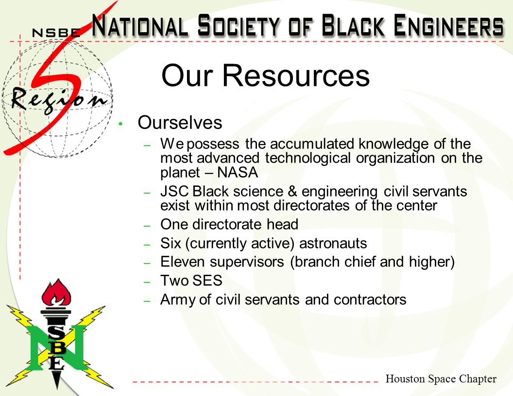 Houston Space Chapter Ourselves – We possess the accumulated knowledge of the most advanced technological organization on the planet – NASA – JSC Blac