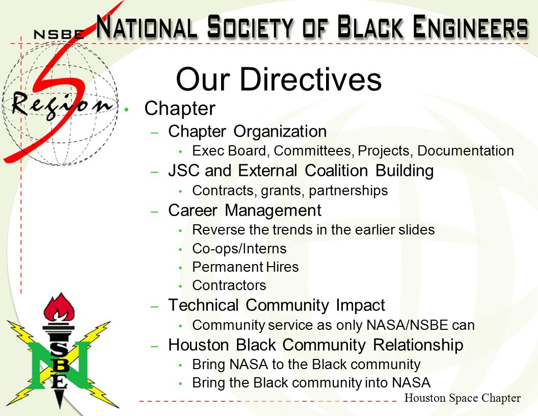 Houston Space Chapter Chapter – Chapter Organization Exec Board, Committees, Projects, Documentation – JSC and External Coalition Building Contracts, grants, partnerships – Career Management Reverse the trends in the earlier slides Co-ops/Interns Permanent Hires Contractors – Technical Community Impact Community service as only NASA/NSBE can – Houston Black Community Relationship Bring NASA to the Black community Bring the Black community into NASA Our Directives