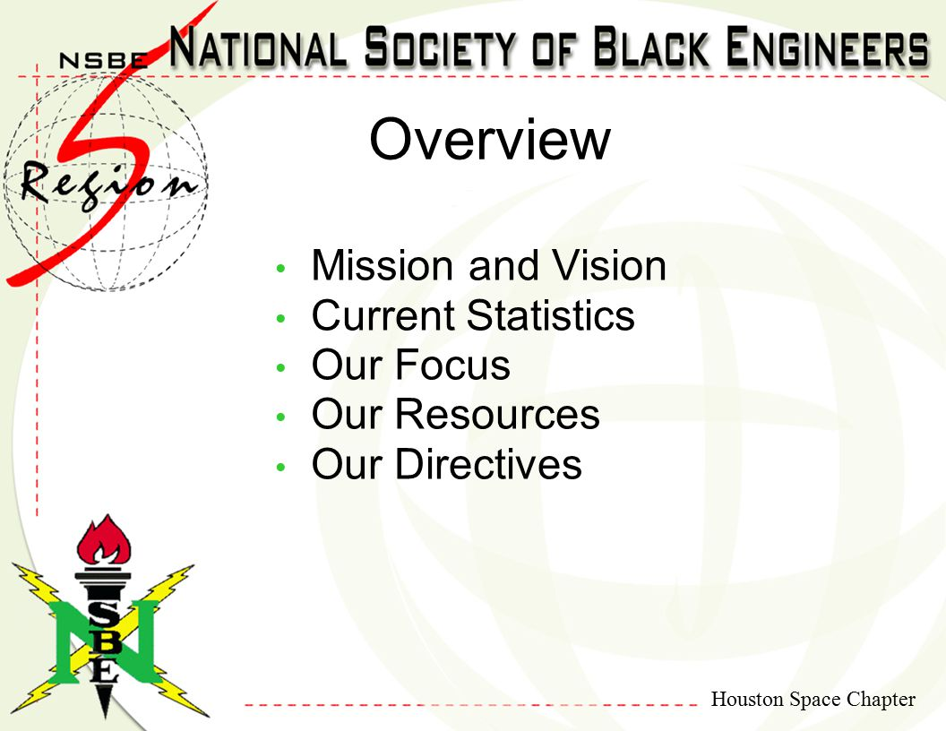 Houston Space Chapter Overview Mission and Vision Current Statistics Our Focus Our Resources Our Directives