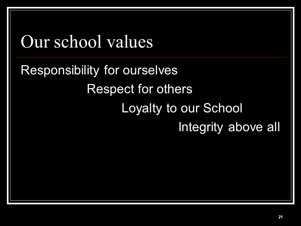 21 Our school values Responsibility for ourselves Respect for others Loyalty to our School Integrity above all