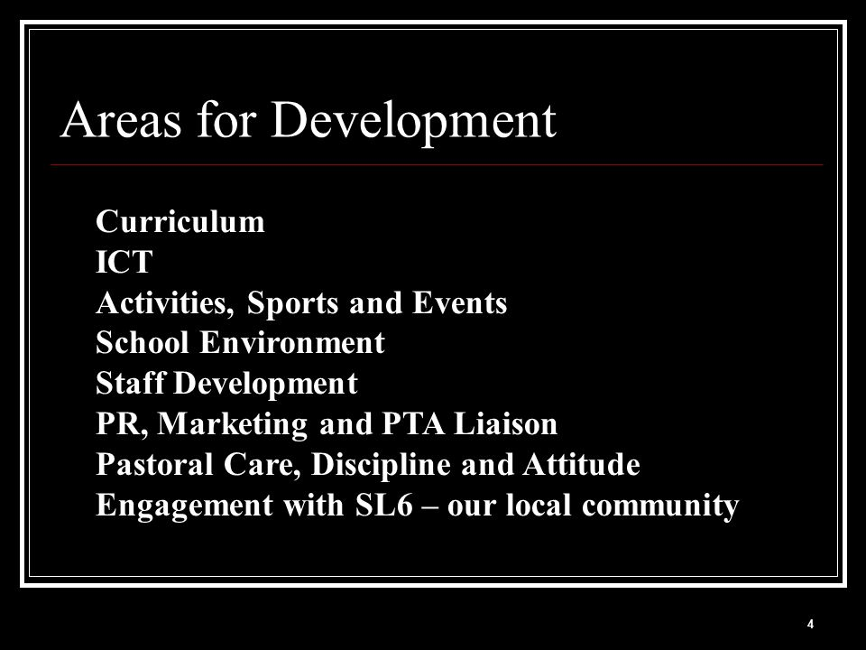 4 Areas for Development Curriculum ICT Activities, Sports and Events School Environment Staff Development PR, Marketing and PTA Liaison Pastoral Care,