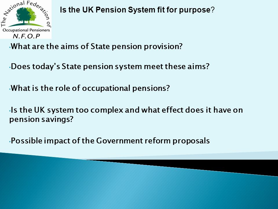 What are the aims of State pension provision. Does today's State pension system meet these aims.