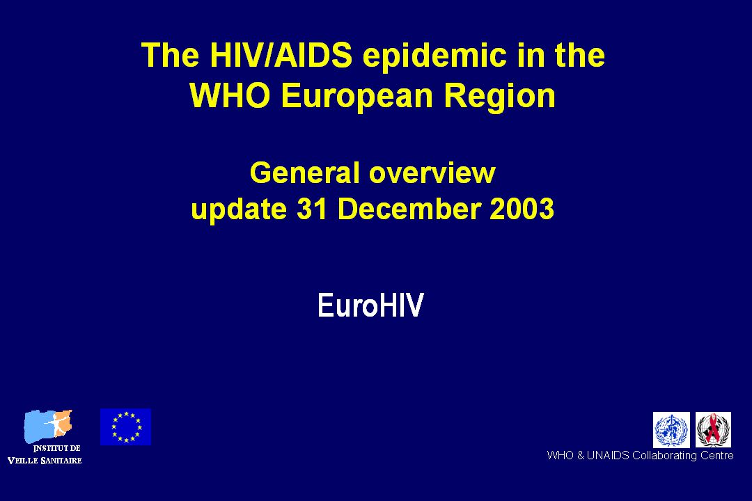 Adults and children estimated to be living with HIV as of end 2004 Total: 39.4 (35.9 – 44.3) million Western & Central Europe 610 000 [480 000 – 760 000] North Africa & Middle East 540 000 [230 000 – 1.5 million] Sub-Saharan Africa 25.4 million [23.4 – 28.4 million] Eastern Europe & Central Asia 1.4 million [920 000 – 2.1 million] South & South-East Asia 7.1 million [4.4 – 10.6 million] Oceania 35 000 [25 000 – 48 000] North America 1.0 million [540 000 – 1.6 million] Caribbean 440 000 [270 000 – 780 000] Latin America 1.7 million [1.3 – 2.2 million] East Asia 1.1 million [560 000 – 1.8 million]
