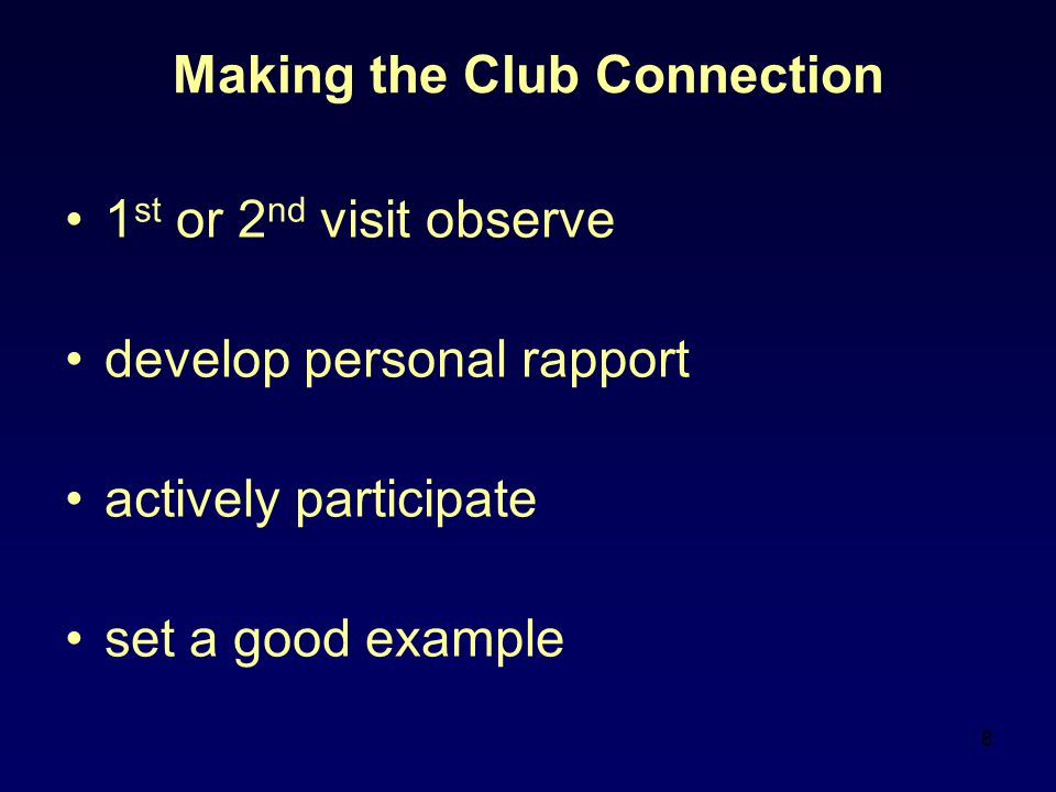 9 Making the Club Connection do not tell, dictate, nor criticize guide members towards excellence ( Club Coach Troubleshooting guide How to rebuild a Toastmasters Club – Item 1158) everyone has vested interest: –Club Officers; Club members; Area Governor; Division Governor; District Governor and especially the Coaches.