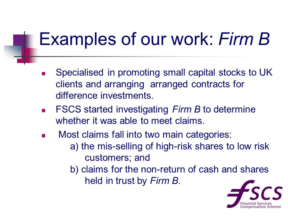 Examples of our work: Firm B Specialised in promoting small capital stocks to UK clients and arranging arranged contracts for difference investments.