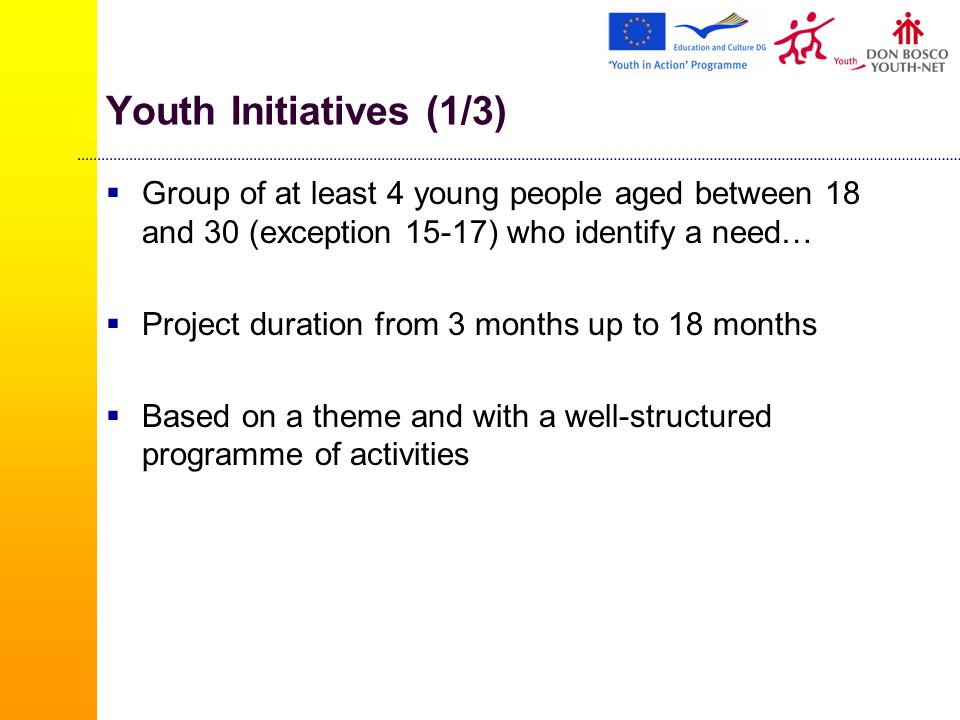 Youth Initiatives (1/3)  Group of at least 4 young people aged between 18 and 30 (exception 15-17) who identify a need…  Project duration from 3 months up to 18 months  Based on a theme and with a well-structured programme of activities