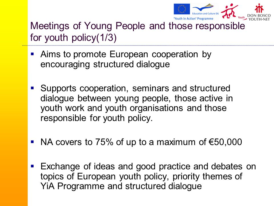 Meetings of Young People and those responsible for youth policy(1/3)  Aims to promote European cooperation by encouraging structured dialogue  Supports cooperation, seminars and structured dialogue between young people, those active in youth work and youth organisations and those responsible for youth policy.
