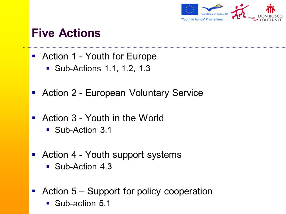 Five Actions  Action 1 - Youth for Europe  Sub-Actions 1.1, 1.2, 1.3  Action 2 - European Voluntary Service  Action 3 - Youth in the World  Sub-Action 3.1  Action 4 - Youth support systems  Sub-Action 4.3  Action 5 – Support for policy cooperation  Sub-action 5.1