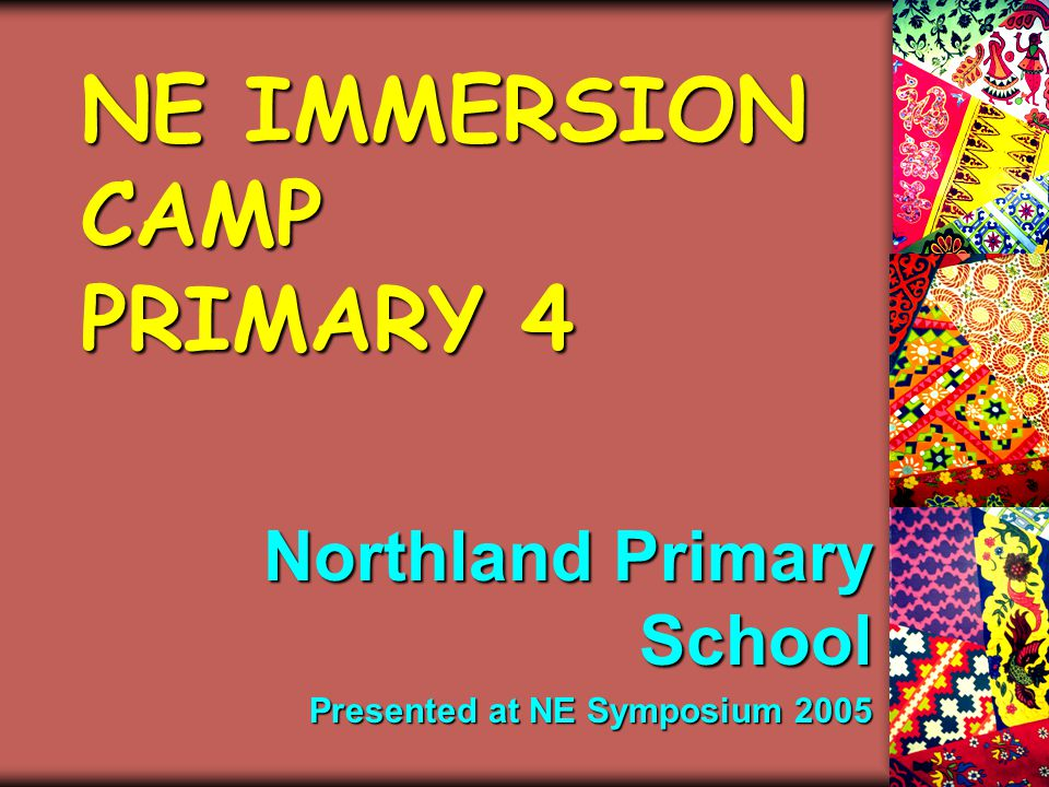 NE IMMERSION CAMP PRIMARY 4 Northland Primary School Presented at NE Symposium 2005