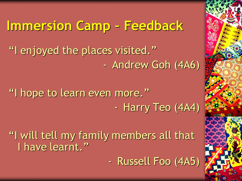 I enjoyed the places visited. -Andrew Goh (4A6) I hope to learn even more. -Harry Teo (4A4) I will tell my family members all that I have learnt. -Russell Foo (4A5) Immersion Camp – Feedback
