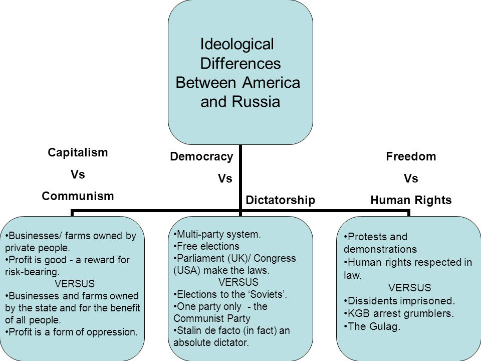 Freedom Vs Human Rights Democracy Vs Dictatorship Businesses/ farms owned by private people. Profit is good - a reward for risk-bearing. VERSUS Busine