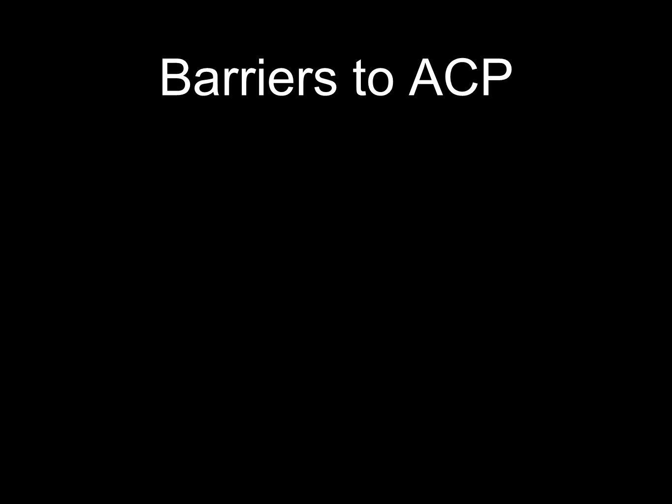 Barriers to ACP