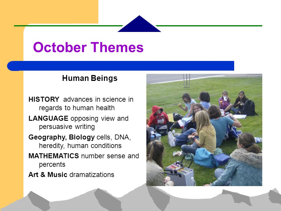 October Themes Human Beings HISTORY advances in science in regards to human health LANGUAGE opposing view and persuasive writing Geography, Biology cells, DNA, heredity, human conditions MATHEMATICS number sense and percents Art & Music dramatizations