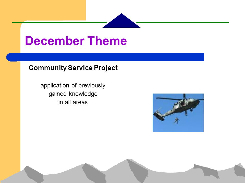 Community Service Project application of previously gained knowledge in all areas December Theme