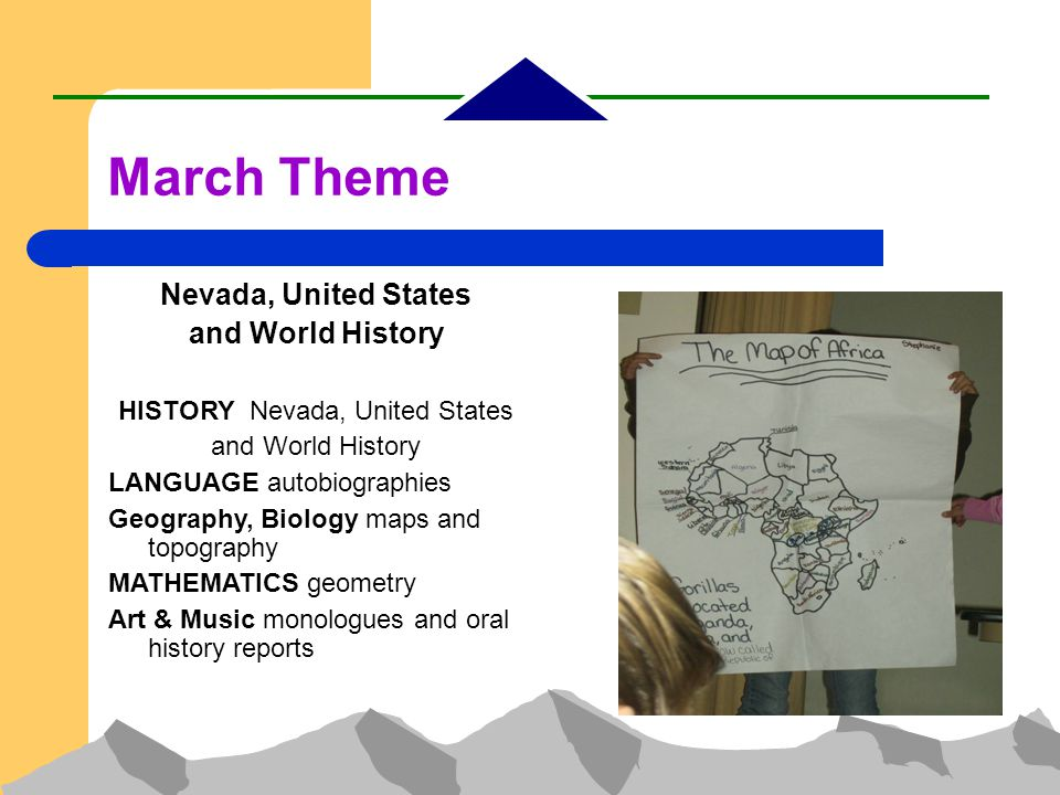 Nevada, United States and World History HISTORY Nevada, United States and World History LANGUAGE autobiographies Geography, Biology maps and topography MATHEMATICS geometry Art & Music monologues and oral history reports March Theme