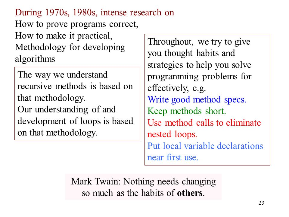 During 1970s, 1980s, intense research on How to prove programs correct, How to make it practical, Methodology for developing algorithms 23 The way we understand recursive methods is based on that methodology.