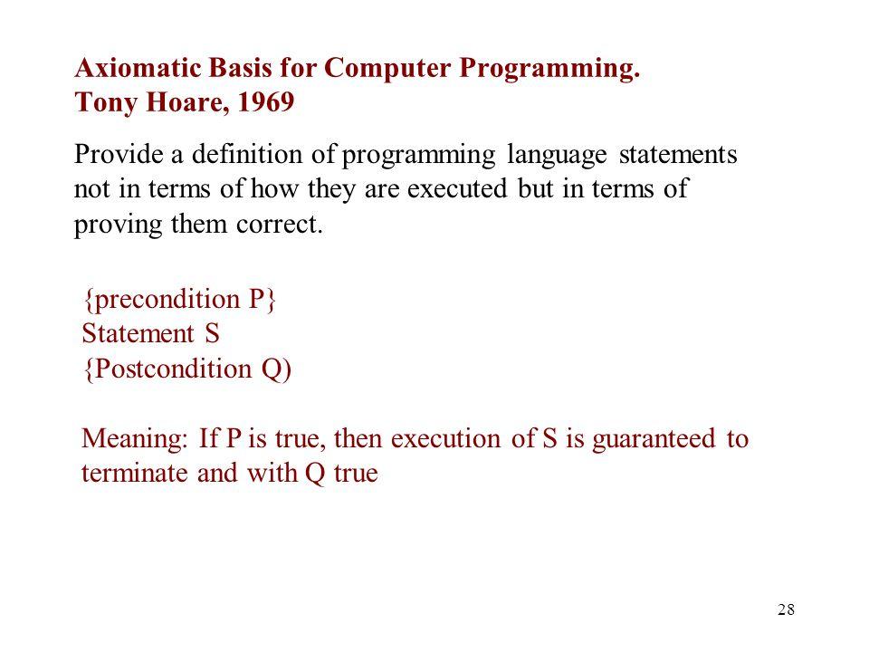 Axiomatic Basis for Computer Programming.