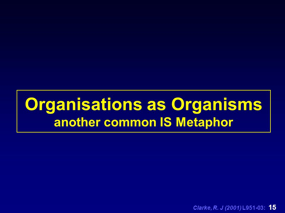Clarke, R. J (2001) L951-03: 15 Organisations as Organisms another common IS Metaphor