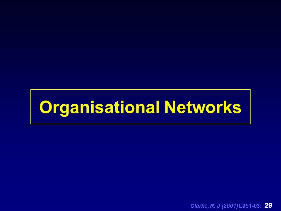 Clarke, R. J (2001) L951-03: 29 Organisational Networks
