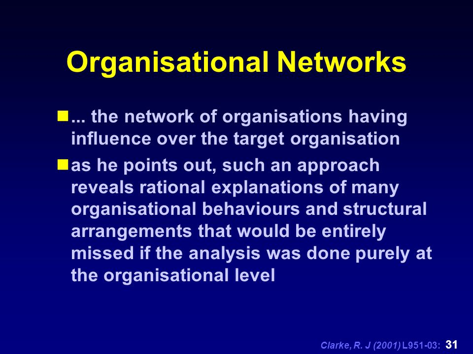 Clarke, R. J (2001) L951-03: 31 Organisational Networks... the network of organisations having influence over the target organisation as he points out