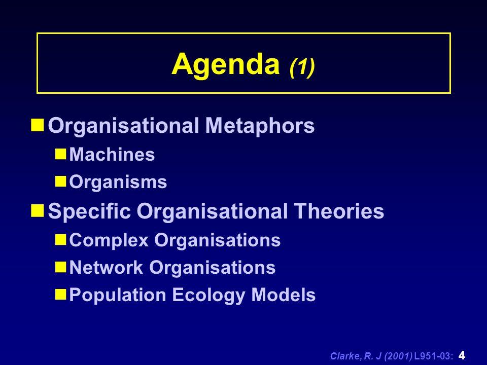 Clarke, R. J (2001) L951-03: 4 Agenda (1) Organisational Metaphors Machines Organisms Specific Organisational Theories Complex Organisations Network O