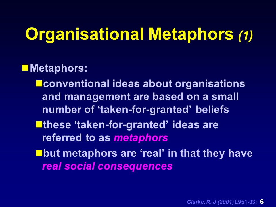 Clarke, R. J (2001) L951-03: 6 Organisational Metaphors (1) Metaphors: conventional ideas about organisations and management are based on a small numb