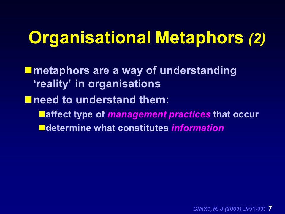 Clarke, R.J (2001) L951-03: 8 Organisational Metaphors (3) Several different metaphors.