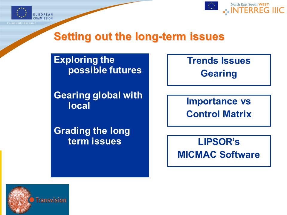 Trends Issues Gearing LIPSOR's MICMAC Software Importance vs Control Matrix Setting out the long-term issues Exploring the possible futures Gearing gl