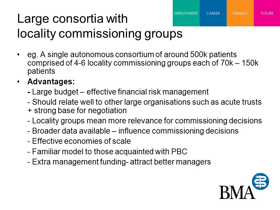 Large consortia with locality commissioning groups eg.