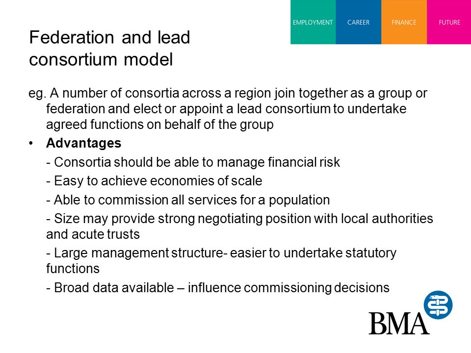 Federation and lead consortium model eg.