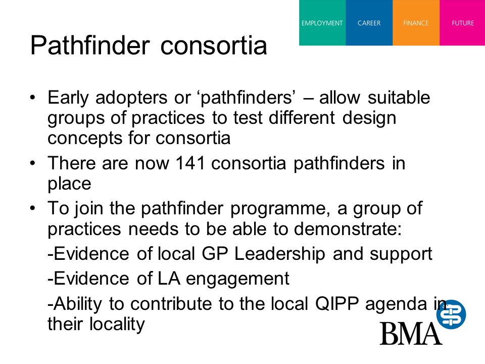 Pathfinder consortia Early adopters or 'pathfinders' – allow suitable groups of practices to test different design concepts for consortia There are now 141 consortia pathfinders in place To join the pathfinder programme, a group of practices needs to be able to demonstrate: -Evidence of local GP Leadership and support -Evidence of LA engagement -Ability to contribute to the local QIPP agenda in their locality