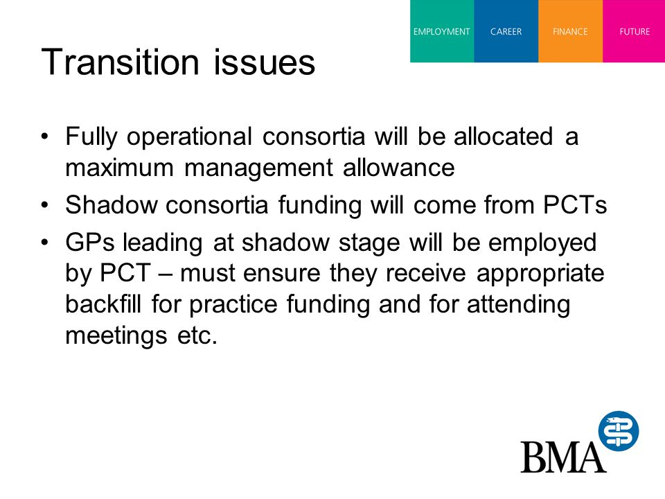 Transition issues Fully operational consortia will be allocated a maximum management allowance Shadow consortia funding will come from PCTs GPs leading at shadow stage will be employed by PCT – must ensure they receive appropriate backfill for practice funding and for attending meetings etc.