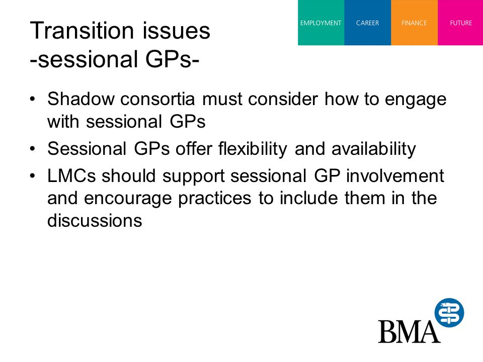 Transition issues -sessional GPs- Shadow consortia must consider how to engage with sessional GPs Sessional GPs offer flexibility and availability LMCs should support sessional GP involvement and encourage practices to include them in the discussions