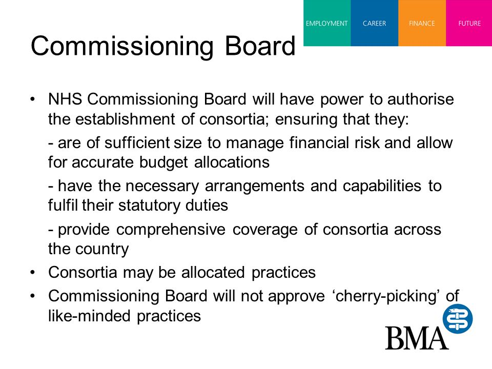 Commissioning Board NHS Commissioning Board will have power to authorise the establishment of consortia; ensuring that they: - are of sufficient size to manage financial risk and allow for accurate budget allocations - have the necessary arrangements and capabilities to fulfil their statutory duties - provide comprehensive coverage of consortia across the country Consortia may be allocated practices Commissioning Board will not approve 'cherry-picking' of like-minded practices