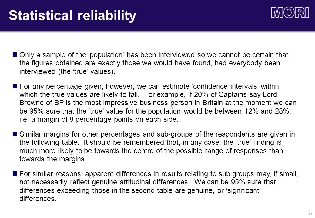 33 Statistical reliability Only a sample of the 'population' has been interviewed so we cannot be certain that the figures obtained are exactly those we would have found, had everybody been interviewed (the 'true' values).
