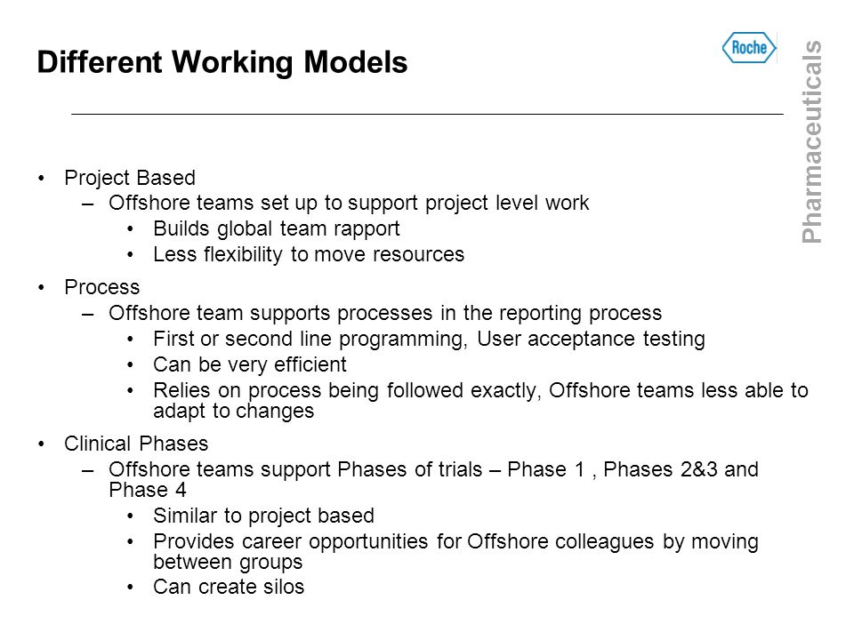 Pharmaceuticals Different Working Models Project Based –Offshore teams set up to support project level work Builds global team rapport Less flexibilit