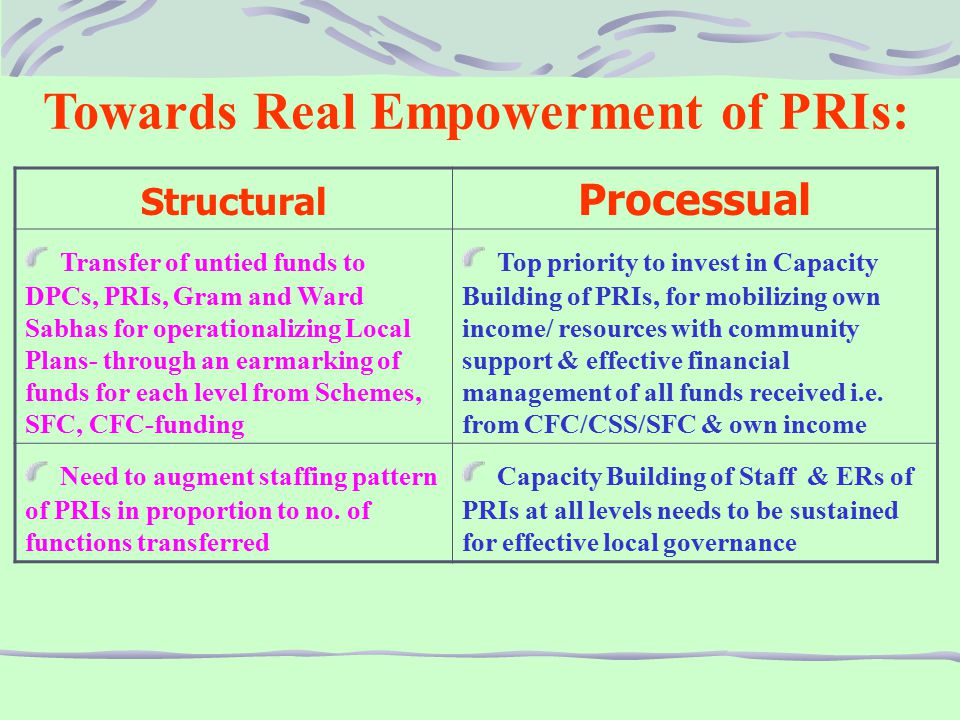 Towards Real Empowerment of PRIs: Structural Processual Transfer of untied funds to DPCs, PRIs, Gram and Ward Sabhas for operationalizing Local Plans- through an earmarking of funds for each level from Schemes, SFC, CFC-funding Top priority to invest in Capacity Building of PRIs, for mobilizing own income/ resources with community support & effective financial management of all funds received i.e.