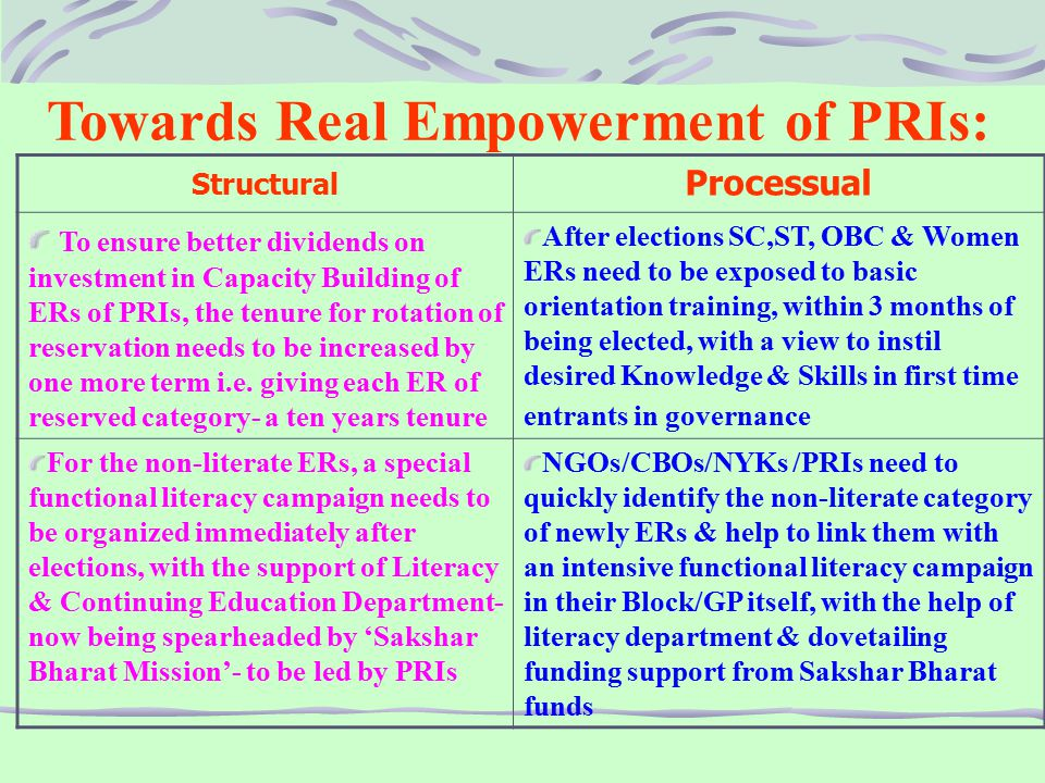 Towards Real Empowerment of PRIs: Structural Processual To ensure better dividends on investment in Capacity Building of ERs of PRIs, the tenure for rotation of reservation needs to be increased by one more term i.e.