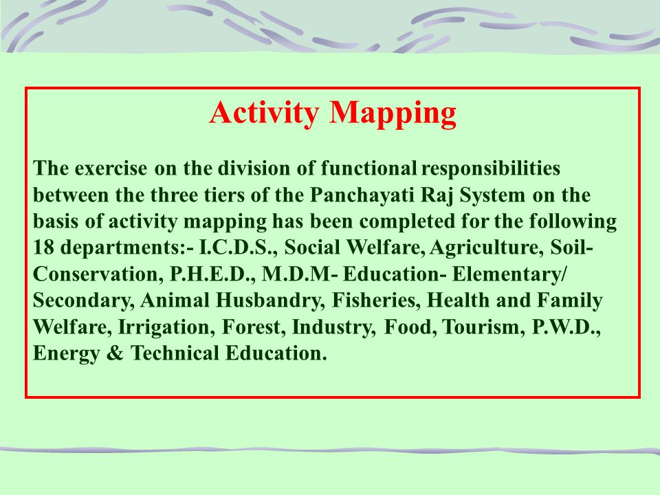 Activities transferred as per the list of 29 Subjects of 11 th Schedule to PRIs in Rajasthan : Some of the key transferred activities and staff are as under:-  Agriculture/Agriculture Extension activities along with staff, up to the level of Asstt.
