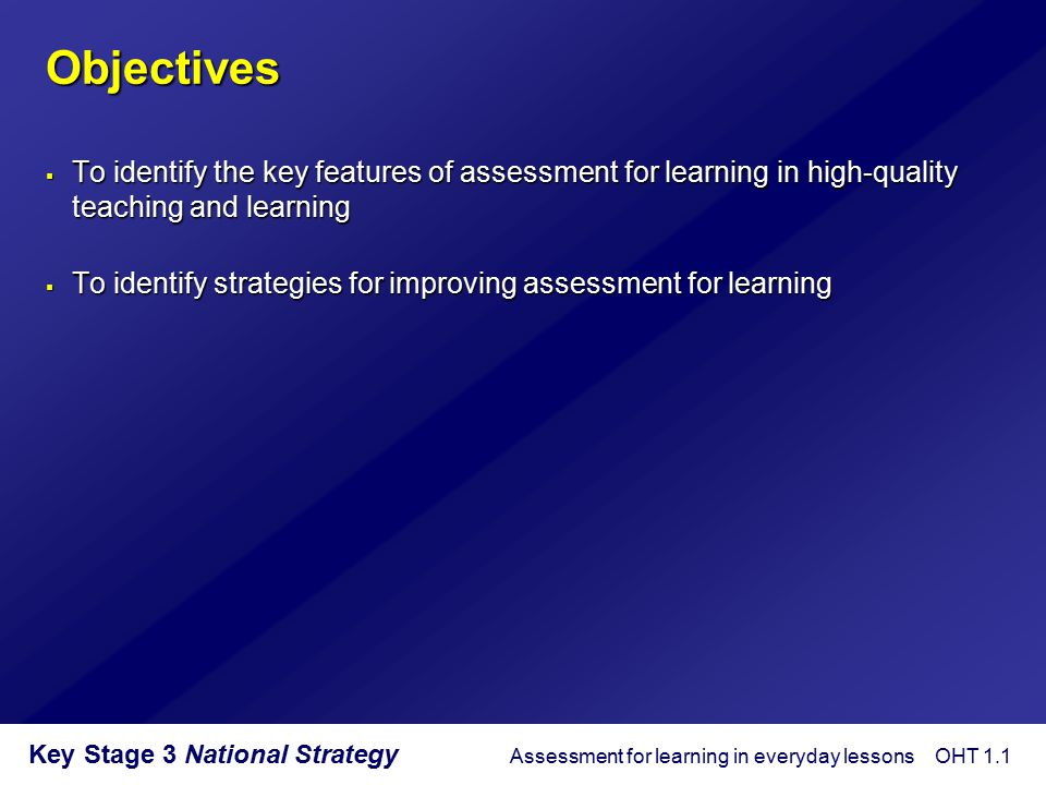 Key Stage 3 National Strategy What is outstanding performance.