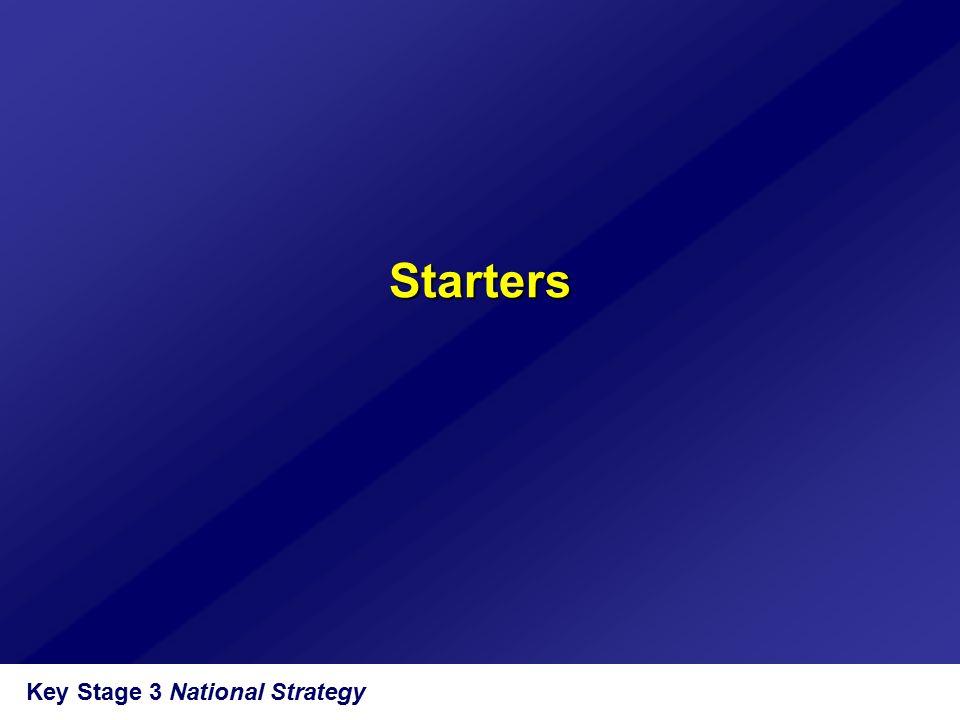 Key Stage 3 National Strategy Starters