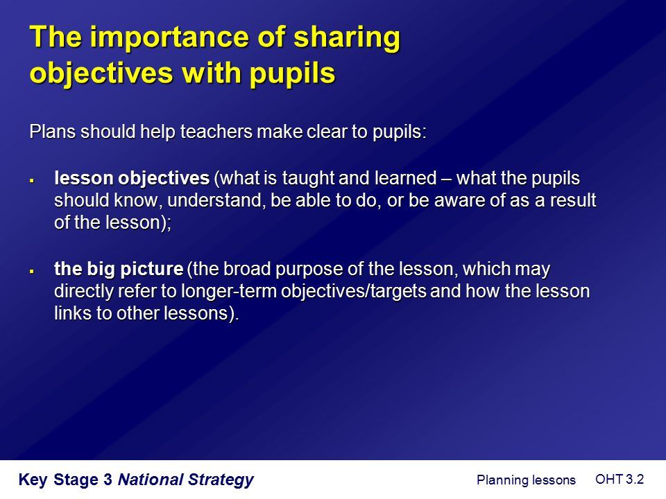 Key Stage 3 National Strategy  create a level of challenge which is dependent upon: – prior learning; – level or order of thinking; – management of pupil response;  create an expectation that pupils will think and participate in the lesson;  create a climate of interaction and involvement;  create a sense of purpose in a part of the lesson which can be derailed by administrative and organisational tasks.