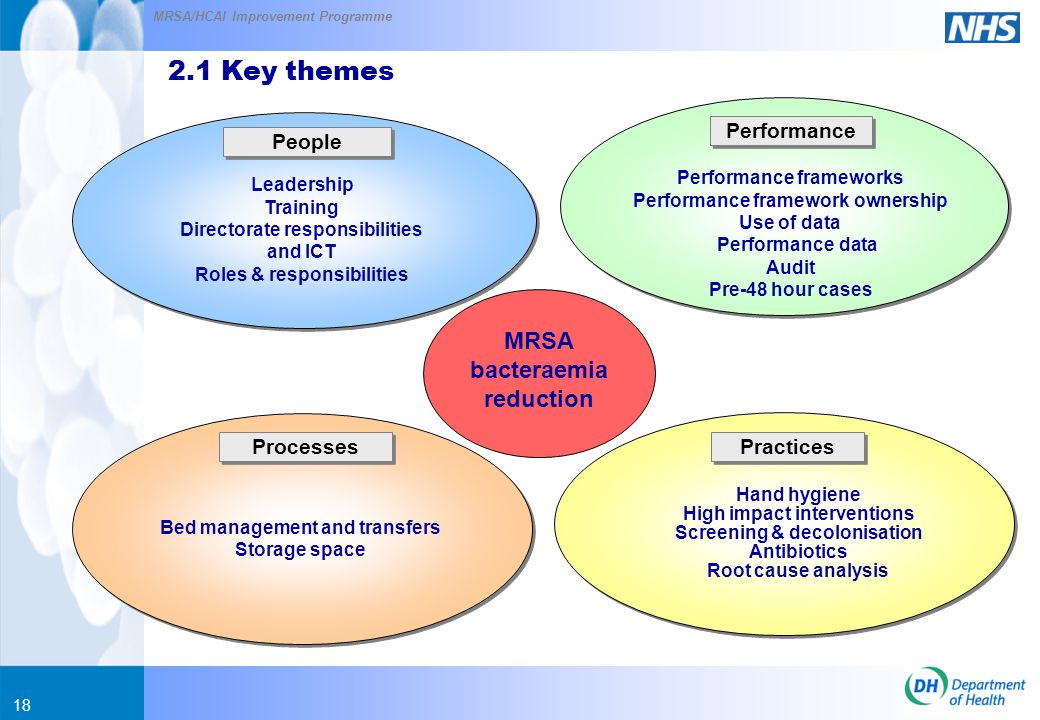 MRSA/HCAI Improvement Programme 18 People Performance Processes Practices 2.1 Key themes MRSA bacteraemia reduction Leadership Training Directorate responsibilities and ICT Roles & responsibilities Bed management and transfers Storage space Performance frameworks Performance framework ownership Use of data Performance data Audit Pre-48 hour cases Hand hygiene High impact interventions Screening & decolonisation Antibiotics Root cause analysis