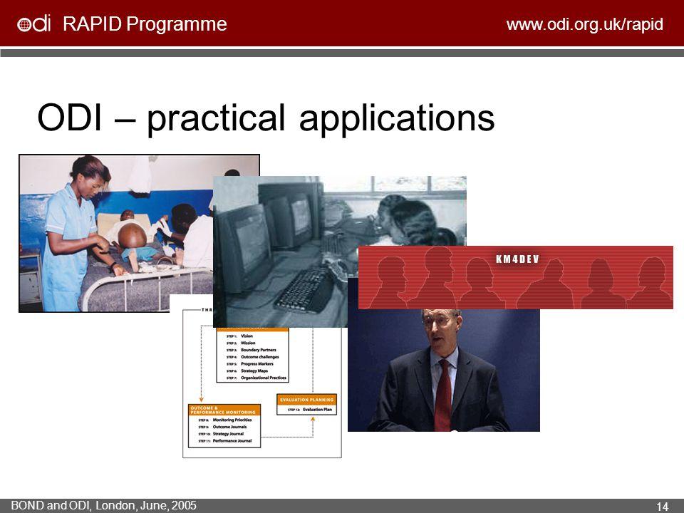 RAPID Programme www.odi.org.uk/rapid BOND and ODI, London, June, 2005 14 ODI – practical applications
