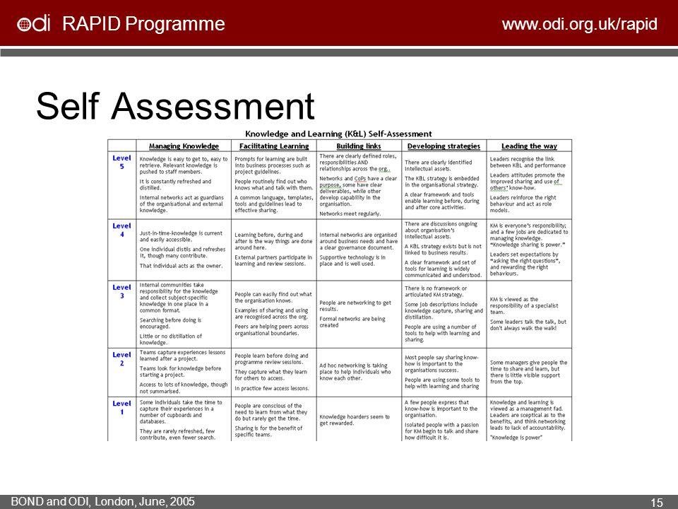RAPID Programme www.odi.org.uk/rapid BOND and ODI, London, June, 2005 15 Self Assessment