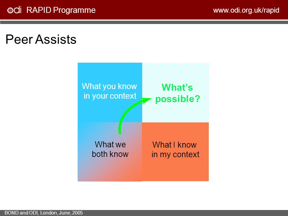 RAPID Programme www.odi.org.uk/rapid BOND and ODI, London, June, 2005 What you know in your context What I know in my context Peer Assists What we bot