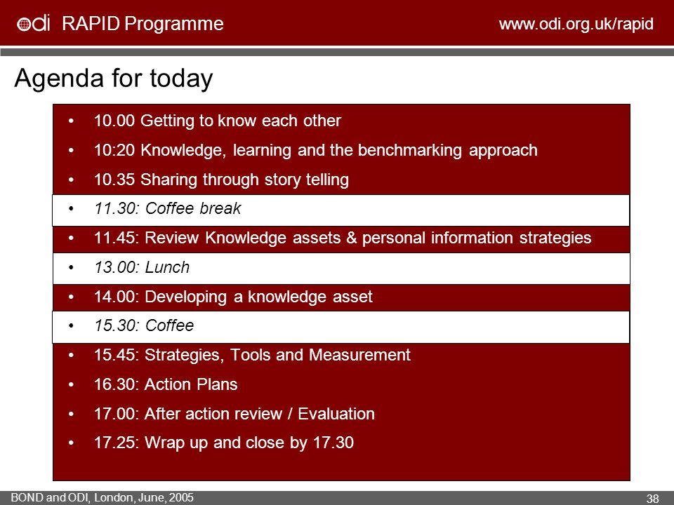 RAPID Programme www.odi.org.uk/rapid BOND and ODI, London, June, 2005 38 Agenda for today 10.00 Getting to know each other 10:20 Knowledge, learning a