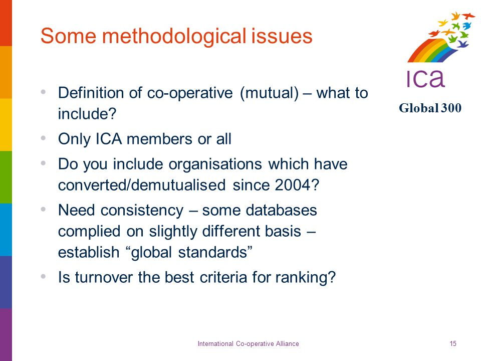 International Co-operative Alliance Global 300 15 Some methodological issues Definition of co-operative (mutual) – what to include.