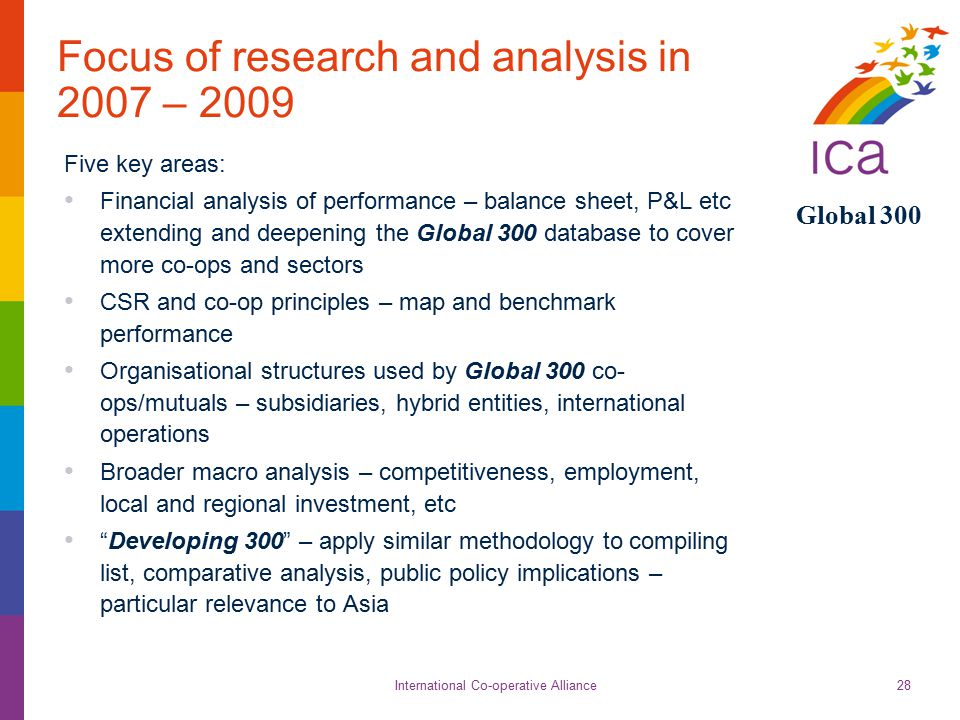 International Co-operative Alliance Global 300 28 Focus of research and analysis in 2007 – 2009 Five key areas: Financial analysis of performance – ba