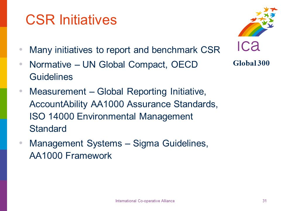 International Co-operative Alliance Global 300 31 CSR Initiatives Many initiatives to report and benchmark CSR Normative – UN Global Compact, OECD Guidelines Measurement – Global Reporting Initiative, AccountAbility AA1000 Assurance Standards, ISO 14000 Environmental Management Standard Management Systems – Sigma Guidelines, AA1000 Framework